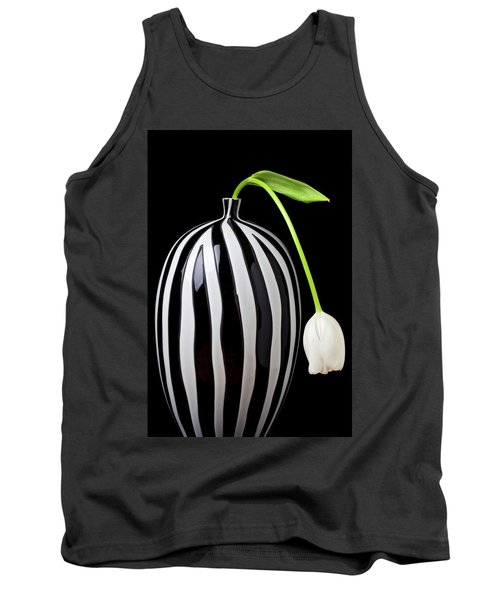 White Tulip In Striped Vase Tank Top