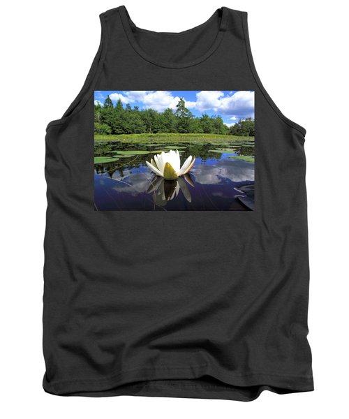 White Waterlily On A Lake Tank Top