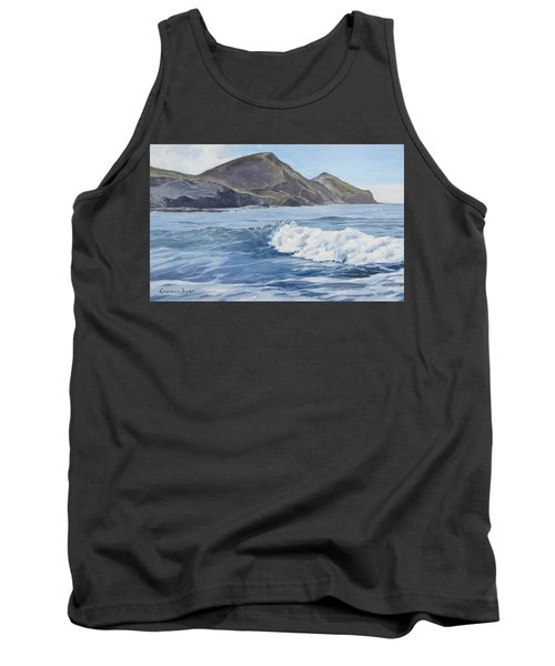 Tank Top featuring the painting White Wave At Crackington  by Lawrence Dyer