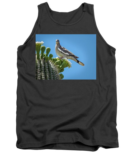 White Winged Dove On Cactus Flower Tank Top