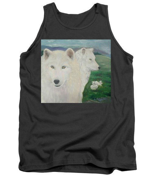 White Wolves Guarding Their Pups Tank Top