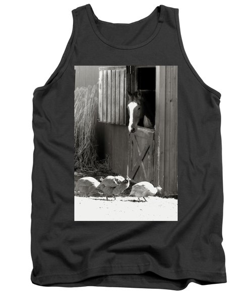 Why Did The Guinea Hen Cross The Road - Sepia Tank Top by Angela Rath