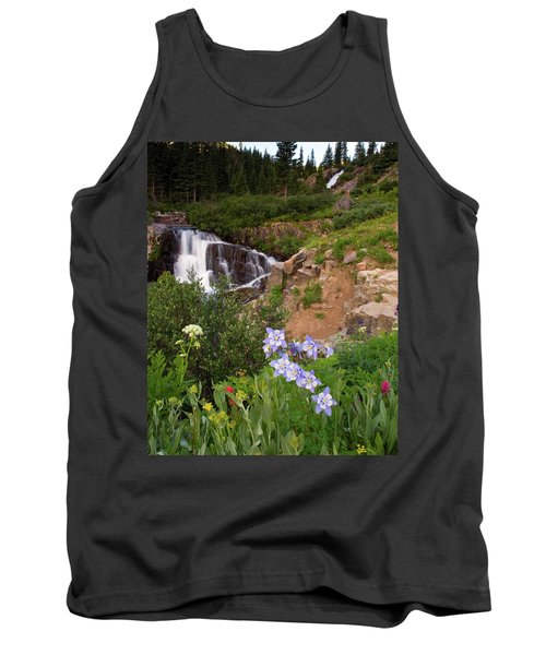 Tank Top featuring the photograph Wild Flowers And Waterfalls by Steve Stuller