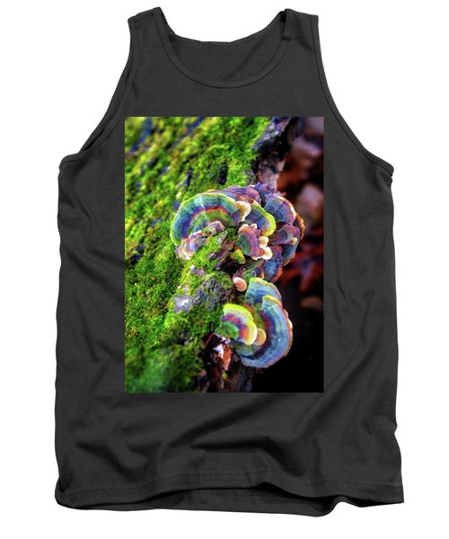 Wild Striped Mushroom Growing On Tree - Paradise Springs - Kettle Moraine State Forest Tank Top by Jennifer Rondinelli Reilly - Fine Art Photography
