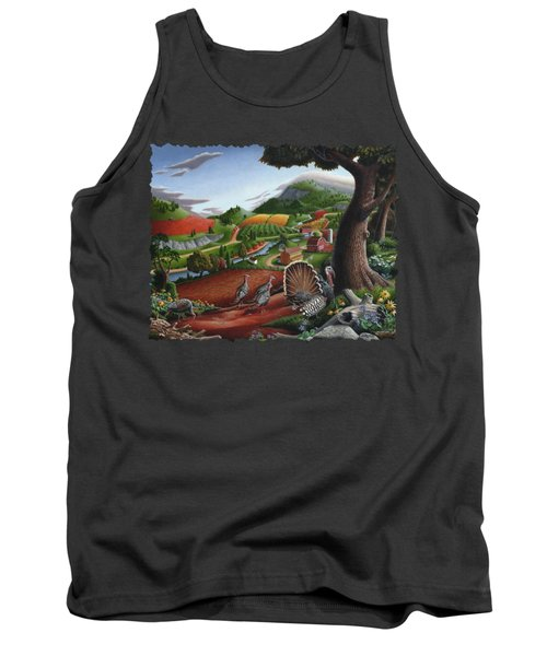 Wild Turkeys Appalachian Thanksgiving Landscape - Childhood Memories - Country Life - Americana Tank Top by Walt Curlee