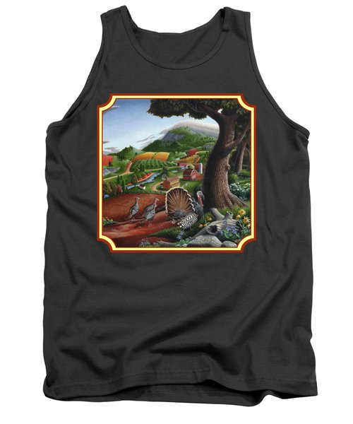Wild Turkeys In The Hills Country Landscape - Square Format Tank Top