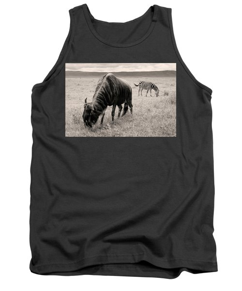 Tank Top featuring the photograph Wildebeest And Zebra by Stefano Buonamici