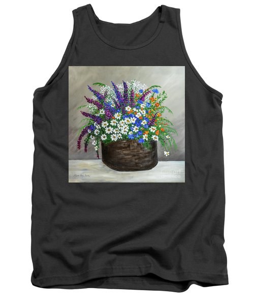Wildflower Basket Acrylic Painting A61318 Tank Top