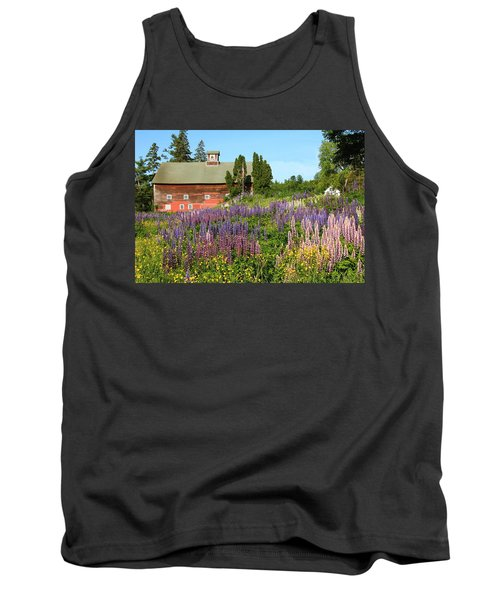 Wildflowers And Red Barn Tank Top by Roupen  Baker