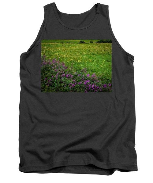 Tank Top featuring the photograph Wildflowers In An Irish Field by James Truett