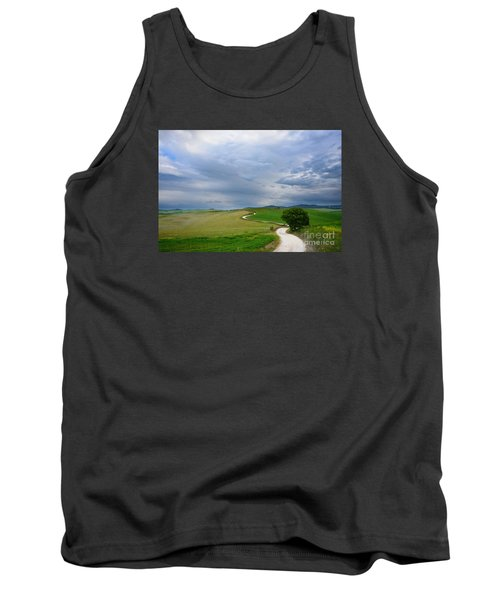 Winding Road To A Destination In A Tuscany Landscape Tank Top by IPics Photography