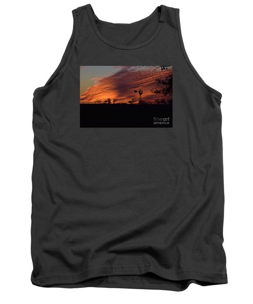 Tank Top featuring the photograph Windmill At Sunset by Mark McReynolds