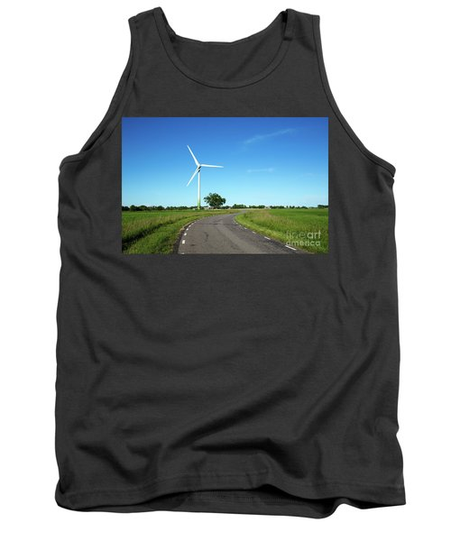 Tank Top featuring the photograph Windmill By A Country Road Side by Kennerth and Birgitta Kullman