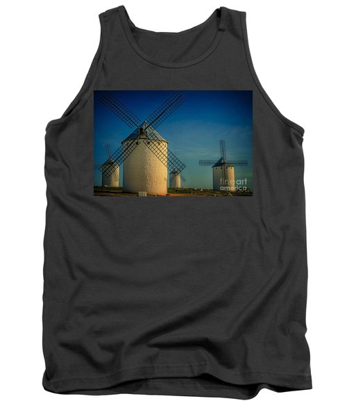 Tank Top featuring the photograph Windmills Under Blue Sky by Heiko Koehrer-Wagner