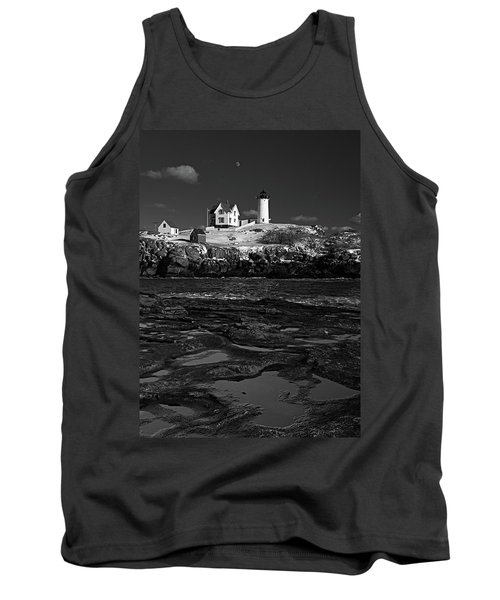 Winter At Nubble Lighthouse Bw Tank Top