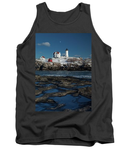 Winter At Nubble Lighthouse Tank Top