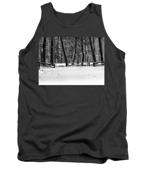 Winter Fences In Black And White  Tank Top
