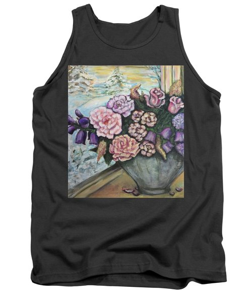 Winter Flowers Tank Top by Rae Chichilnitsky