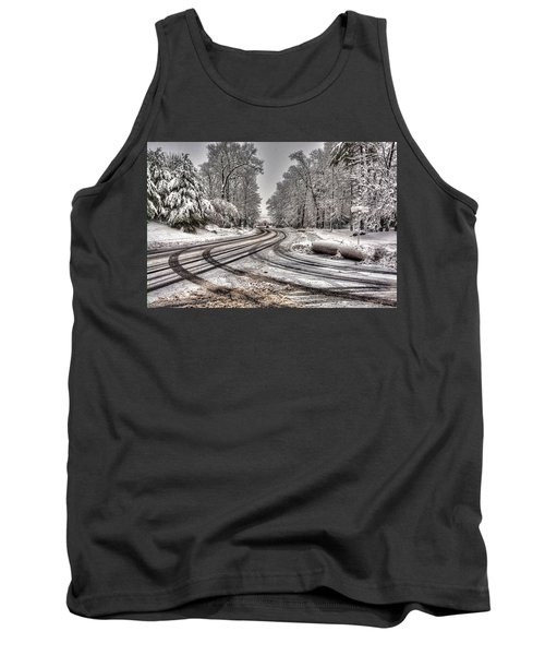 Tracks In The Snow Tank Top by Alex Galkin