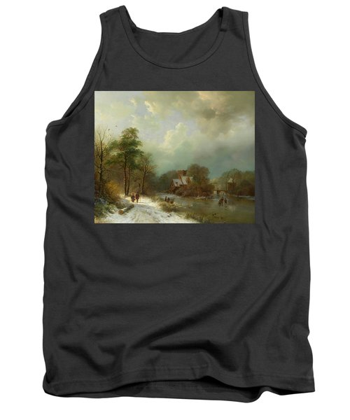 Tank Top featuring the painting Winter Landscape - Holland by Barend Koekkoek