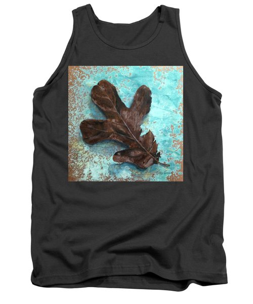 Winter Leaf Tank Top by T Fry-Green