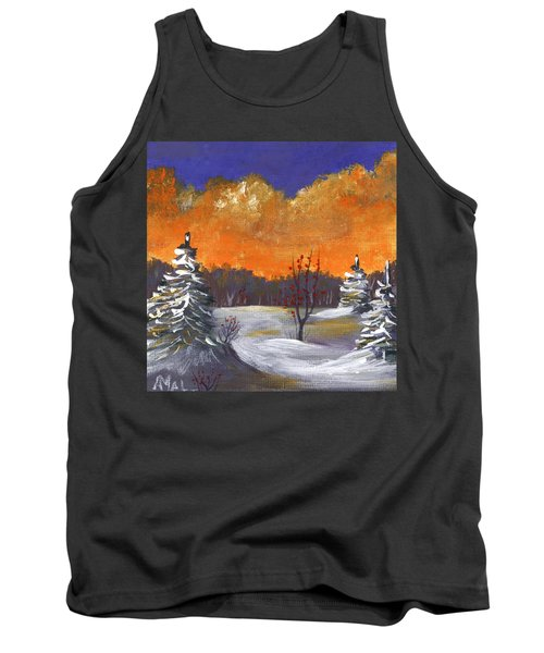 Tank Top featuring the painting Winter Nightfall #1 by Anastasiya Malakhova