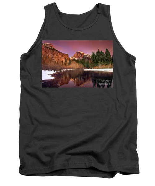 Winter Sunset Lights Up Half Dome Yosemite National Park Tank Top