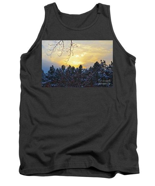 Winter Sunset On The Tree Farm #1 Tank Top