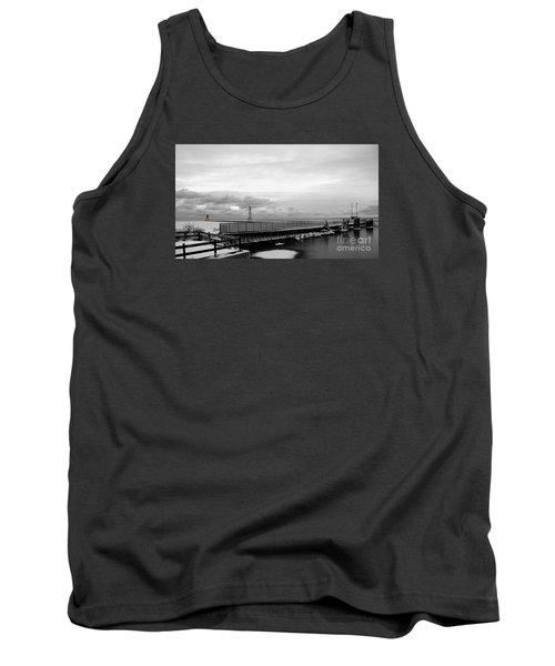 Tank Top featuring the photograph Winter's Icy Grip On Lighthouse Ann Arbor Park by Mark J Seefeldt