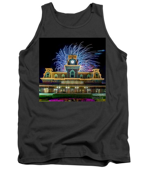 Wishes Over Magic Kingdom Train Station. Tank Top