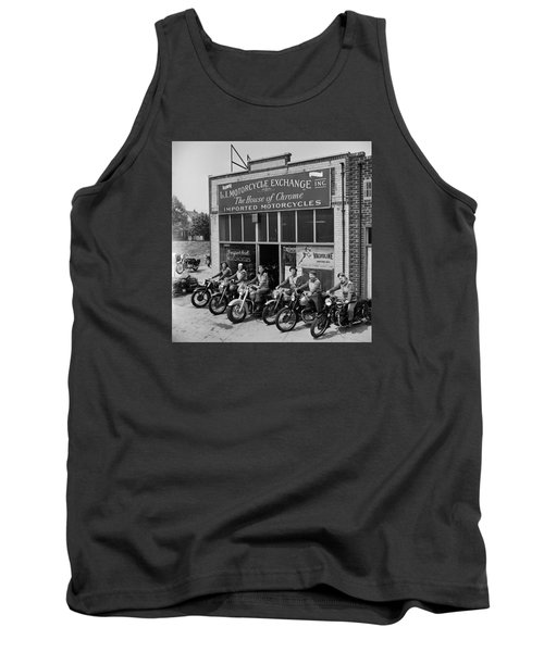 Tank Top featuring the photograph The Motor Maids Of America Outside The Shop They Used As Their Headquarters, 1950. by Lawrence Christopher