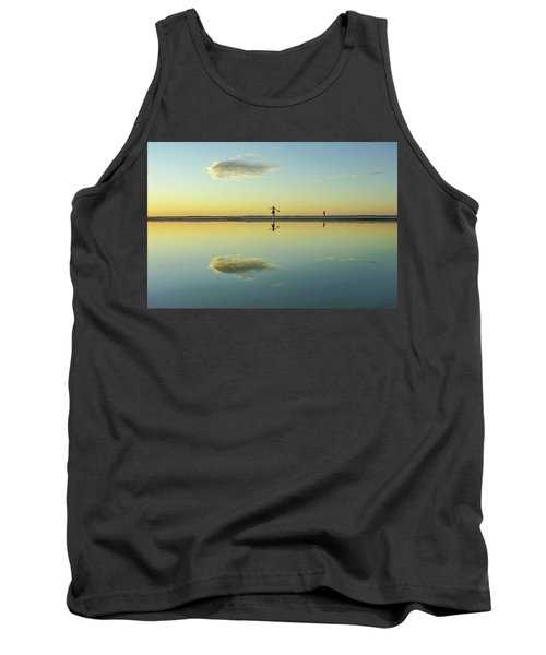 Woman And Cloud Reflected On Beach Lagoon At Sunset Tank Top