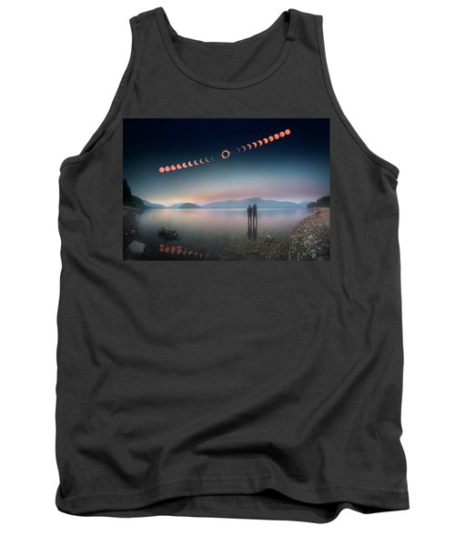 Woman And Girl Standing In Lake Watching Solar Eclipse Tank Top