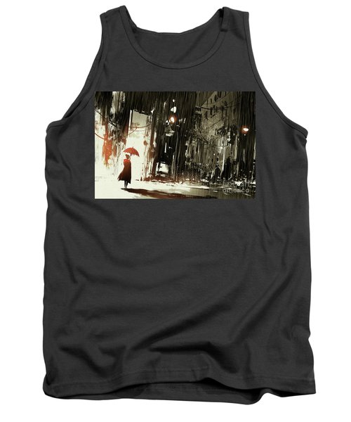 Tank Top featuring the painting Woman In The Destroyed City by Tithi Luadthong