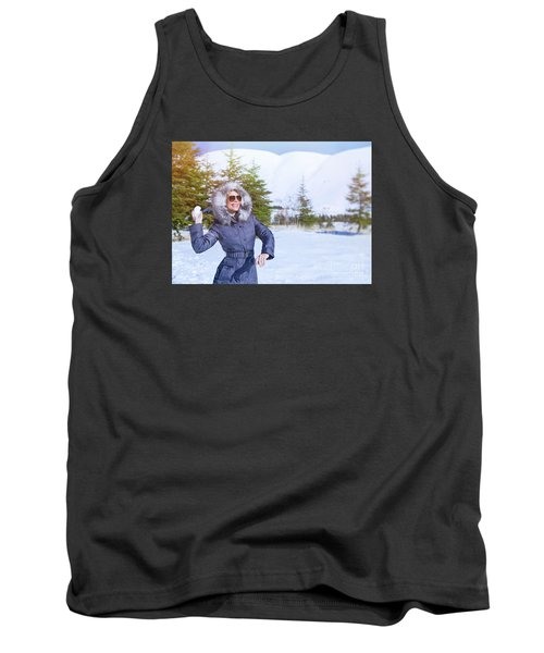 Woman Playing In Winter Park Tank Top