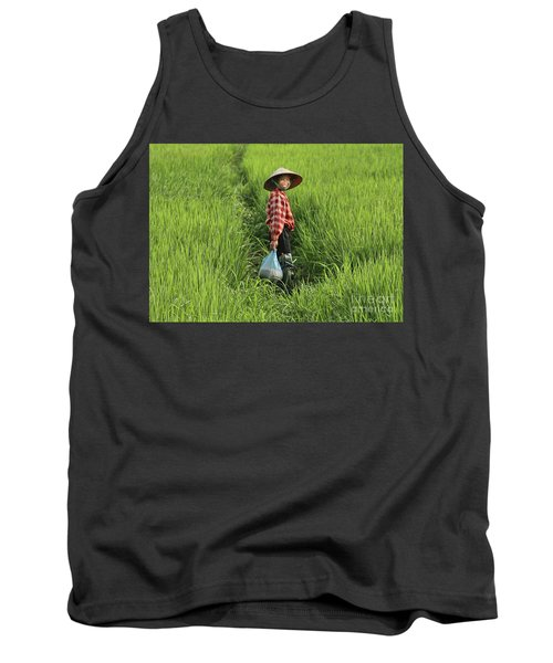 Woman Smile Rice Fields Tank Top by Chuck Kuhn