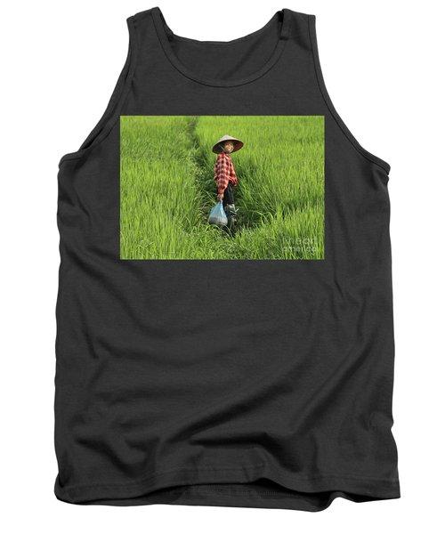 Woman Smile Rice Fields Tank Top