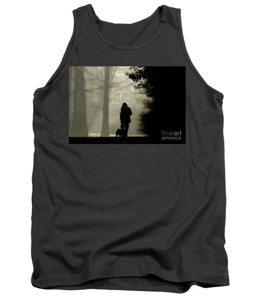 Tank Top featuring the photograph Woman Walking Dog by Patricia Hofmeester