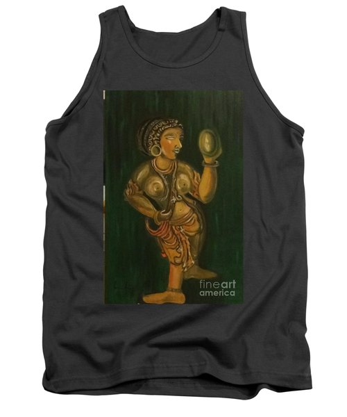 Tank Top featuring the painting Woman With A Mirror Sculpture by Brindha Naveen