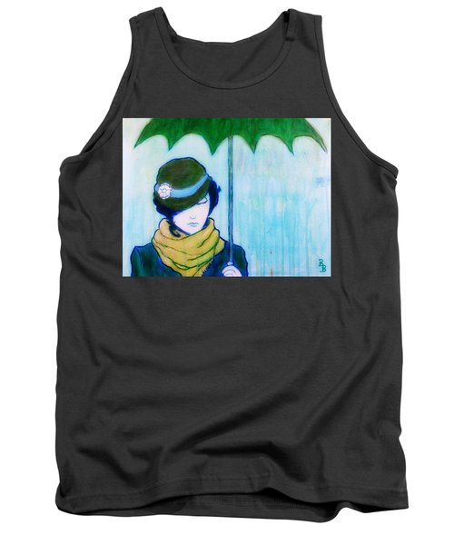 Tank Top featuring the painting Woman With Green Umbrella by Bob Baker