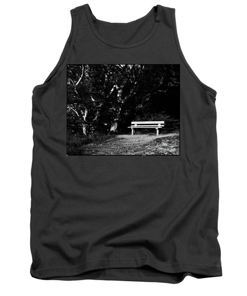 Wooden Bench In B/w Tank Top