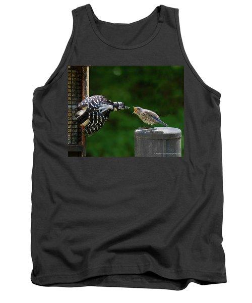 Tank Top featuring the photograph Woodpecker Feeding Bluebird by Robert L Jackson