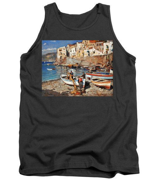 Tank Top featuring the painting Work Never Ends For Amalfi Fishermen by Rosario Piazza