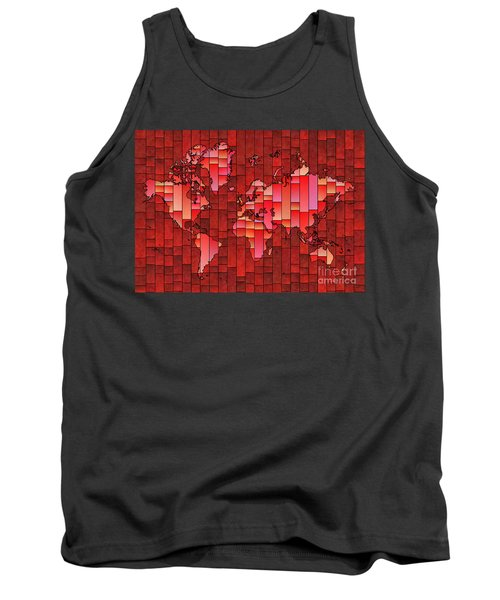 World Map Glasa Red Tank Top