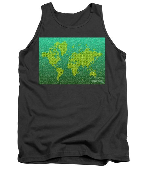World Map Kotak In Green And Yellow Tank Top