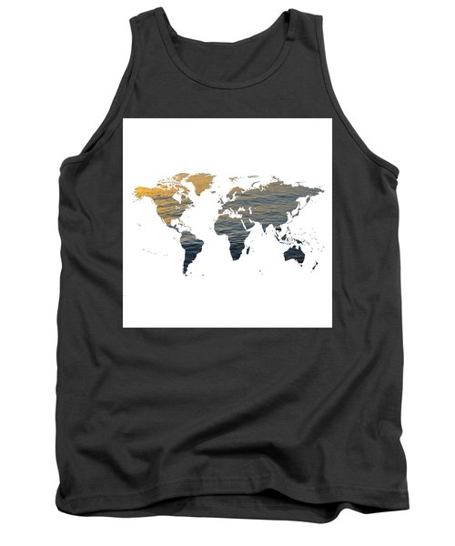 World Map - Ocean Texture Tank Top