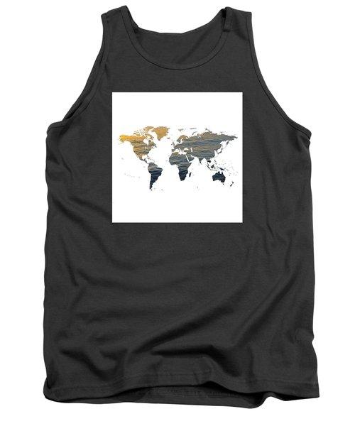 World Map - Ocean Texture Tank Top