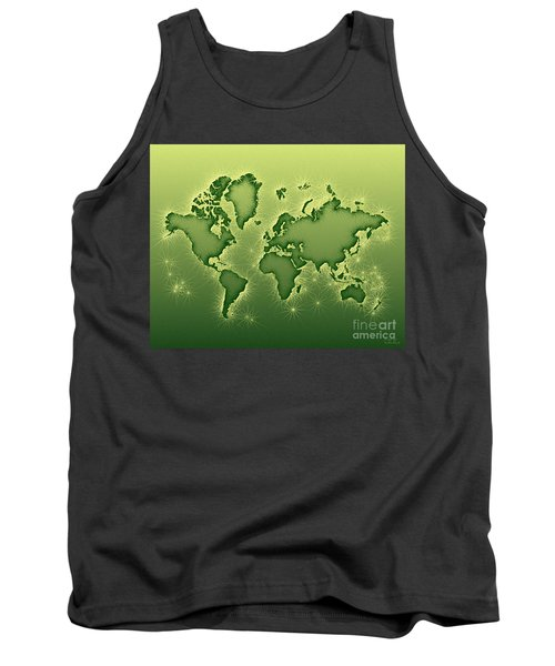 World Map Opala In Green And Yellow Tank Top by Eleven Corners