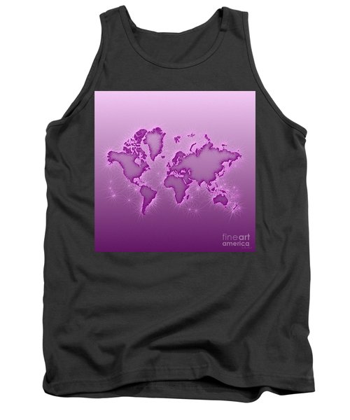 World Map Opala Square In Purple And Pink Tank Top