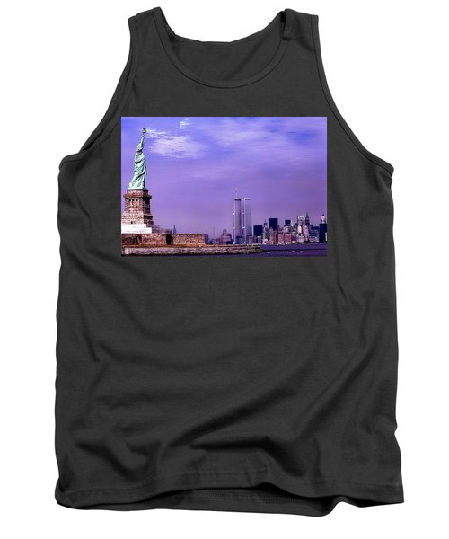 World Trade Center Twin Towers And The Statue Of Liberty  Tank Top